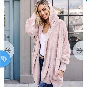 Fuzzy pink jacket OS